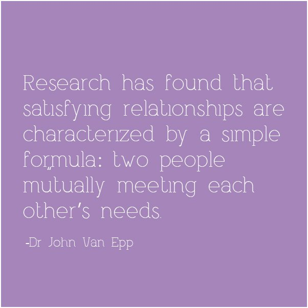 Satisfying relationships have a formula